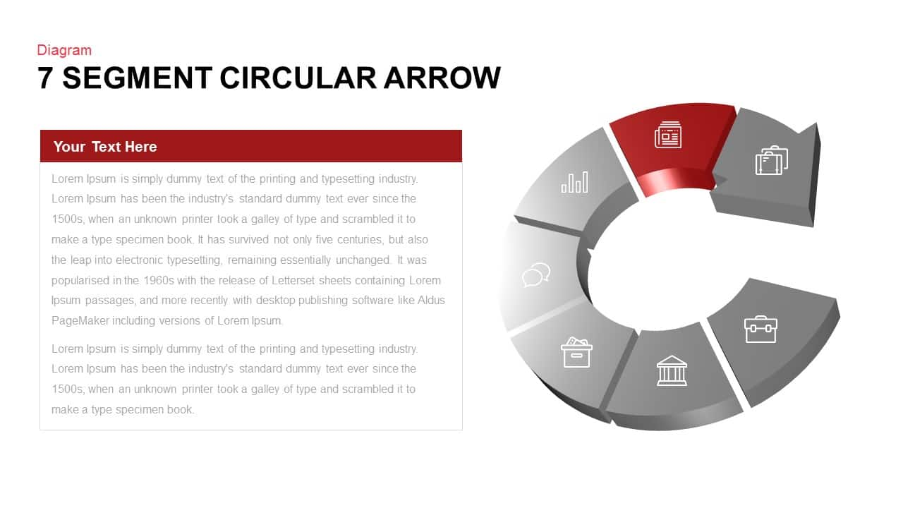 7 Segment Circular Arrow Powerpoint template
