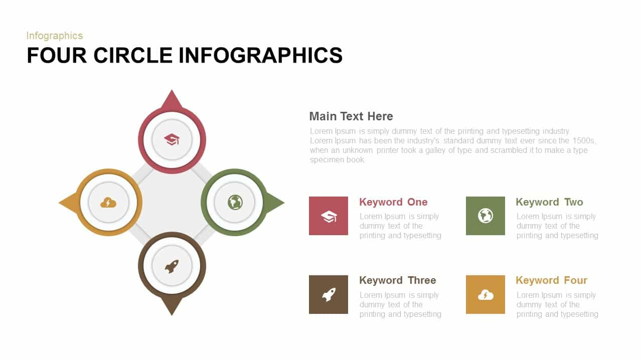 Four Circle Infographics Powerpoint and Keynote template