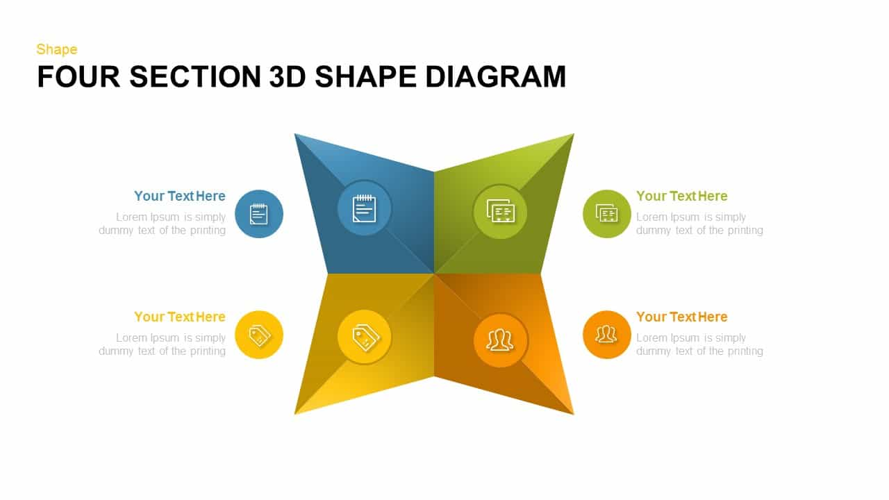four section 3d shape diagram powerpoint and keynote template