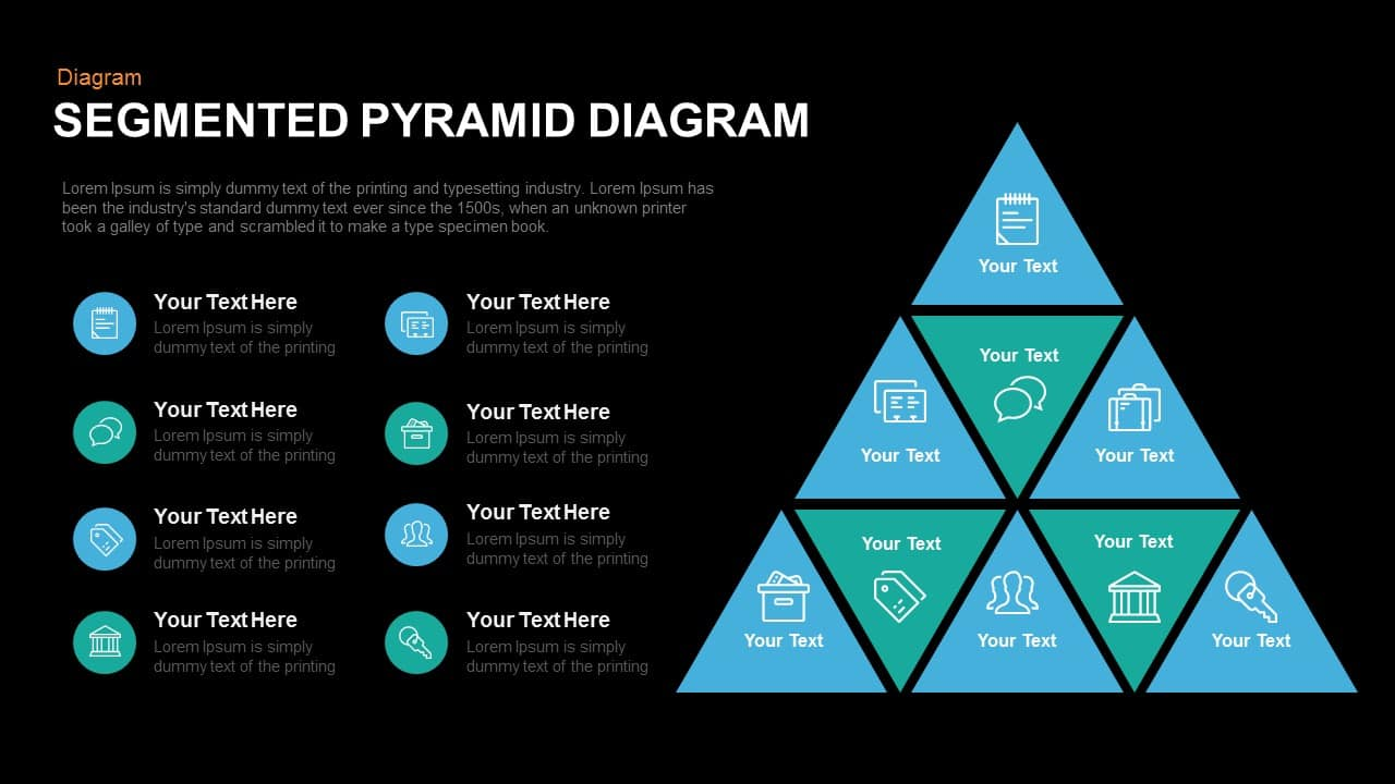 Segmented Pyramid Diagram Powerpoint and Keynote template