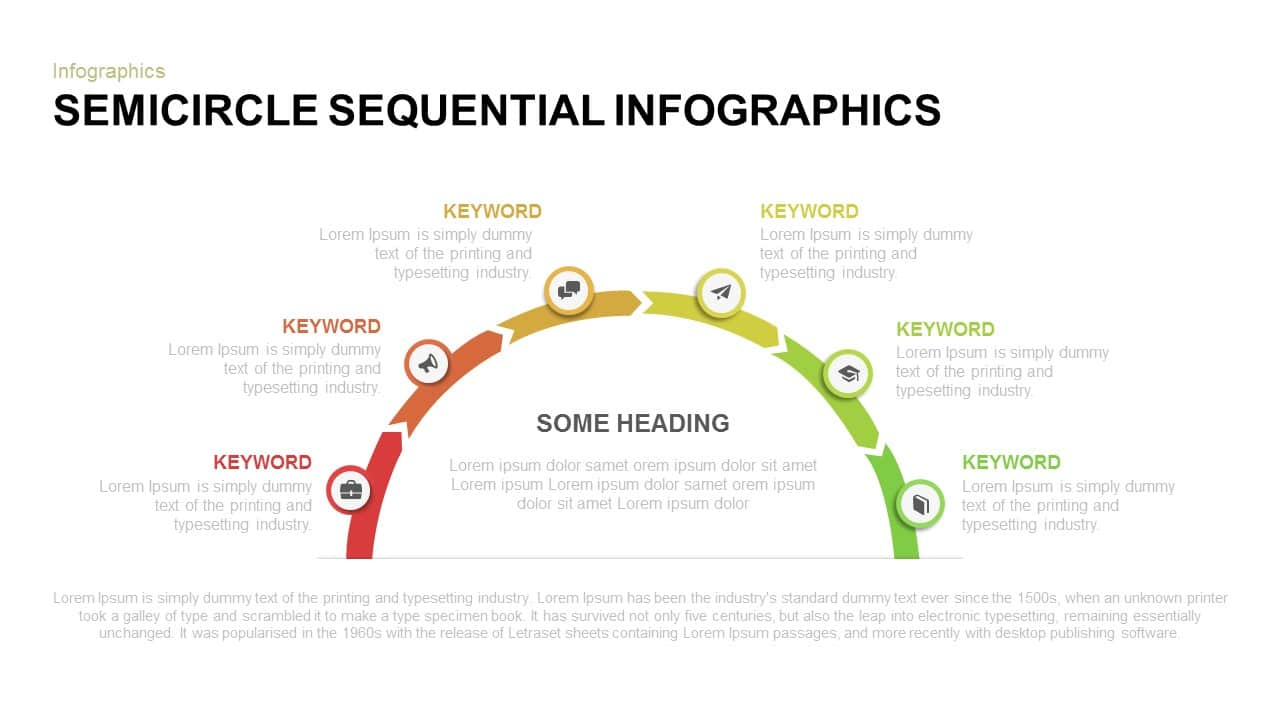 Semicircle sequential infographics powerpoint template
