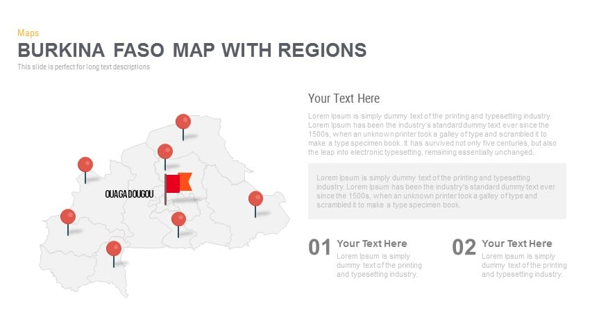 Burkina Faso Map With regions Powerpoint and Keynote template
