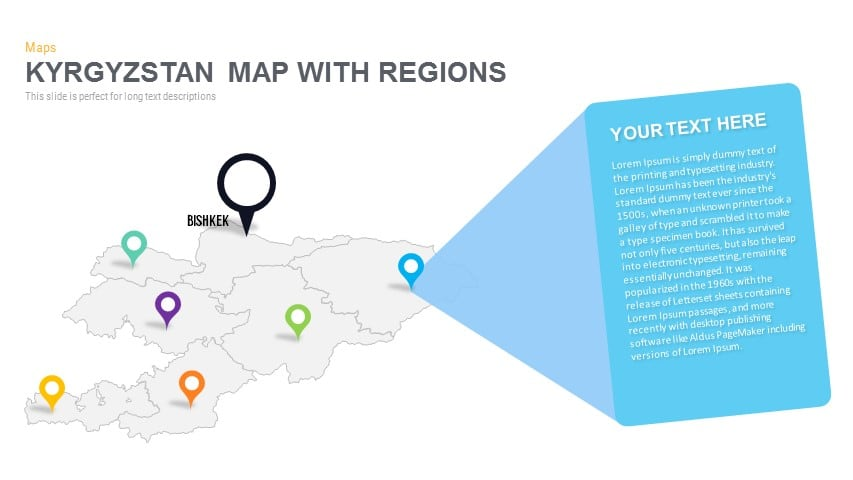 Kyrgyzstan Map With regions Powerpoint and Keynote template