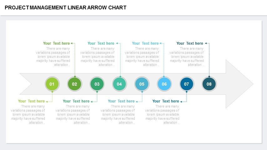 Project management linear arrow chart