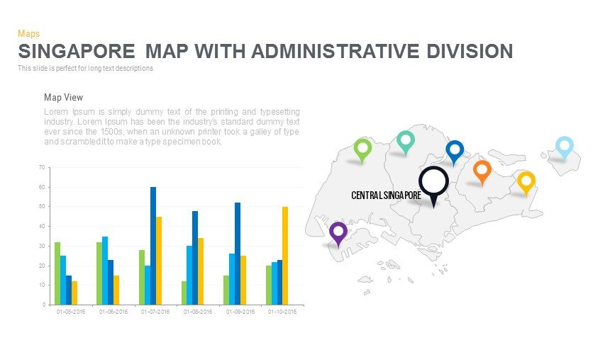 Singapore Map With Administrative Division Powerpoint and Keynote