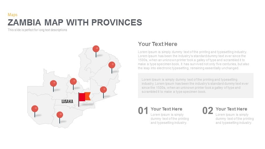 Zambia Map With provinces Powerpoint and Keynote template