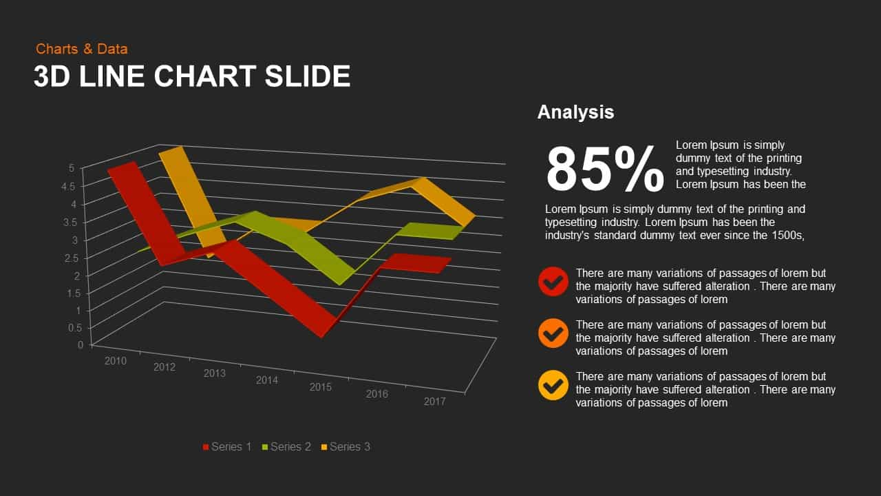 3d line chart powerpoint and keynote slide - slidebazaar