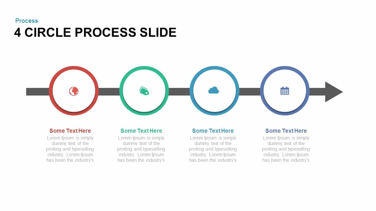 4 circle process PowerPoint template and keynote