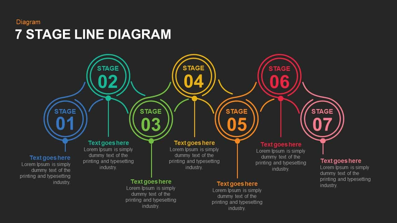 7 Stage Line Diagram Powerpoint and Keynote template