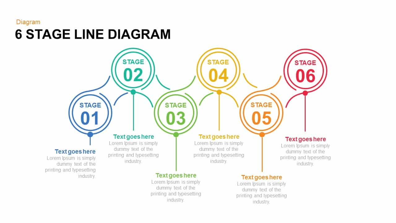 6 Stage Line Diagram Powerpoint and Keynote template