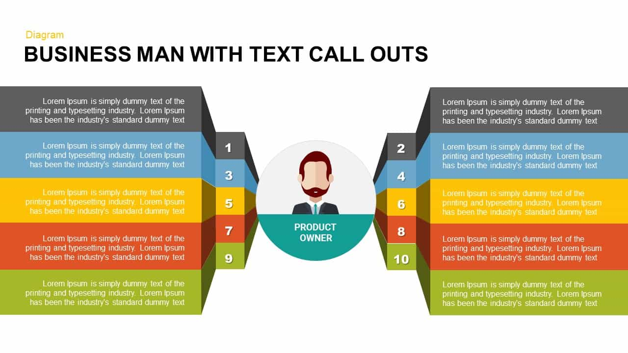 Businessman with Text Callouts PowerPoint Template