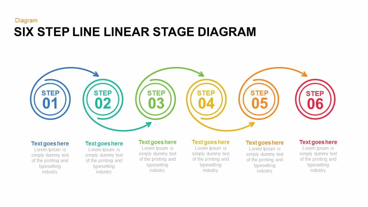 Five and Six Step Line Linear Stage Diagram Powerpoint and Keynote