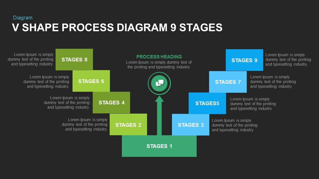 V Shape Process Diagram 9 Stages Powerpoint and Keynote template