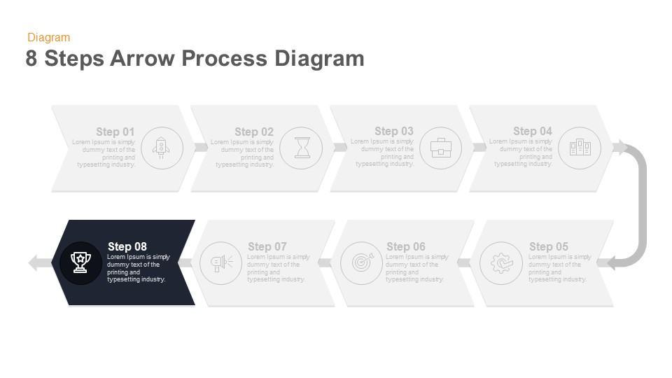 8 steps arrow flow powerpoint template