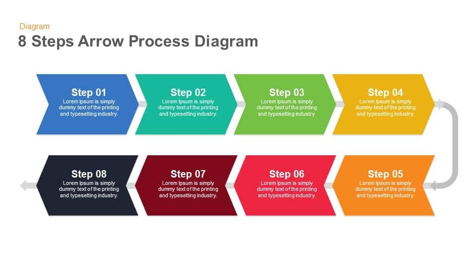 8 steps arrow process keynote template