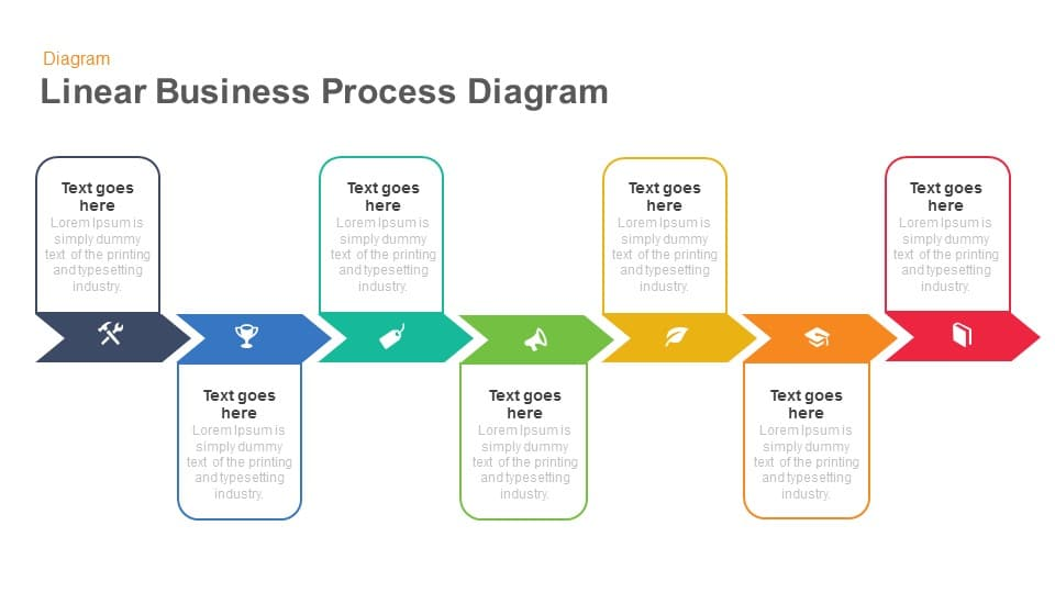 Linear business process diagrams keynote and powerpoint template ccuart Image collections