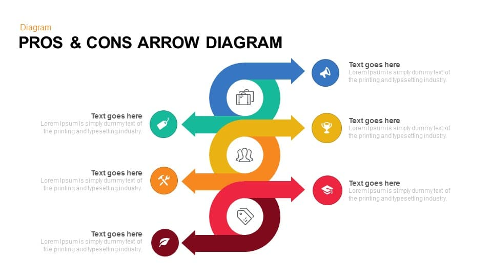 Pros & Cons Arrow Diagram Powerpoint