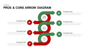 Pros and Cons PowerPoint Template Diagram with Arrow