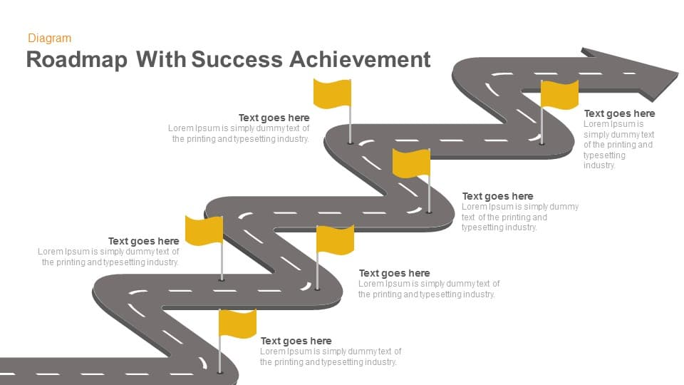 roadmap with success achievement keynote and powerpoint template