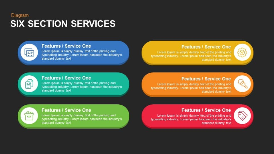 4 and 6 Service Boxes PowerPoint Template and Keynote