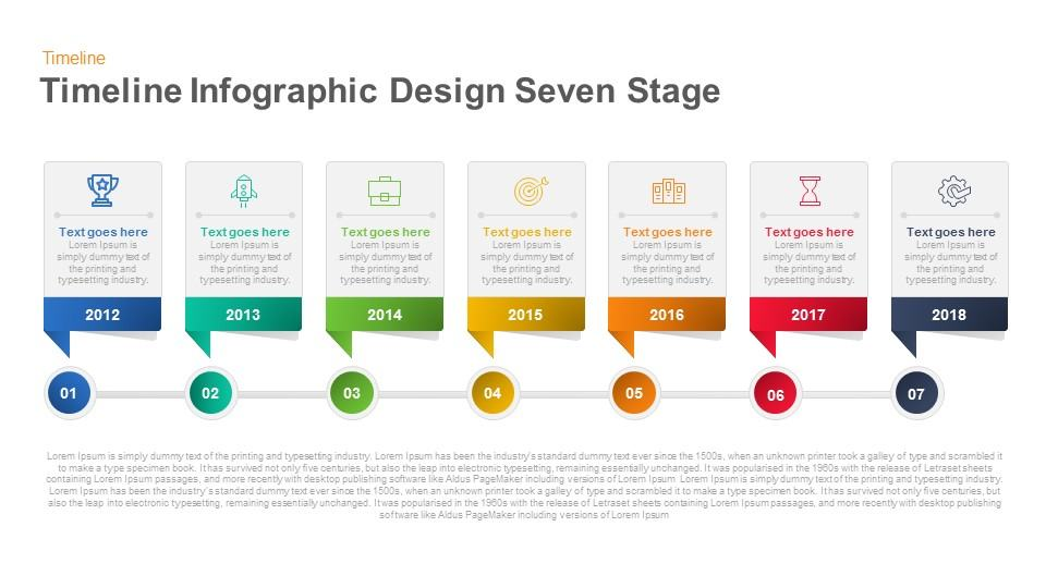 Timeline Infographic Design Seven Stage Keynote and