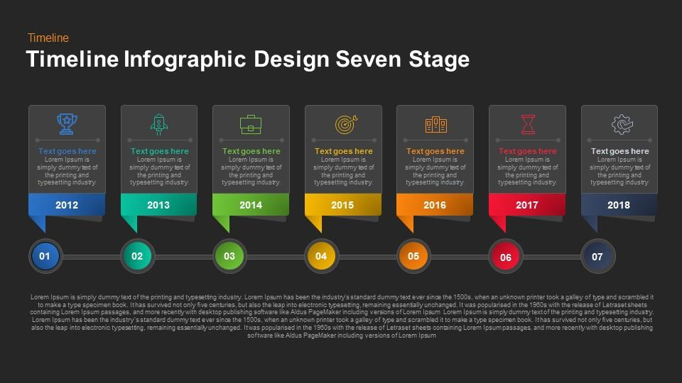 timeline infographic design seven stage keynote and powerpoint
