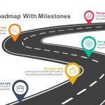 Timeline roadmap with milestones Keynote and Powerpoint template