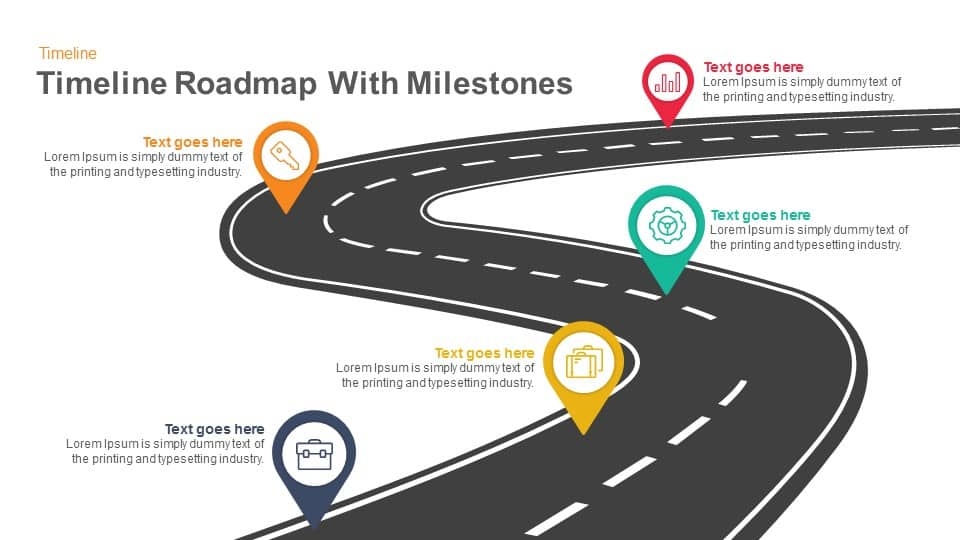 Timeline Roadmap With Milestones Keynote And Powerpoint Template - Roadmap timeline template ppt
