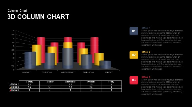 3d column chart template for powerpoint and keynote