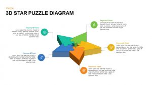 3D Star Puzzle Diagram PowerPoint Template and Keynote Slide