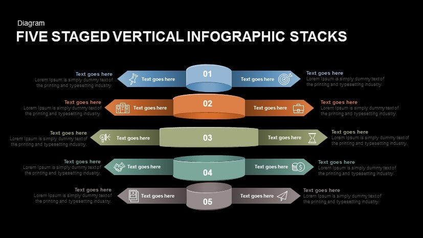 Five Staged Vertical Infographic Stacks