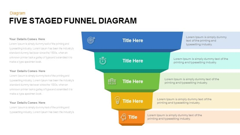 Funnel Diagram Powerpoint Template | Five Staged Funnel Diagram Powerpoint And Keynote Template Slidebazaar
