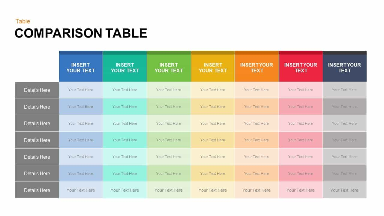 Comparison table keynote and powerpoint template slidebazaar for Table design ppt