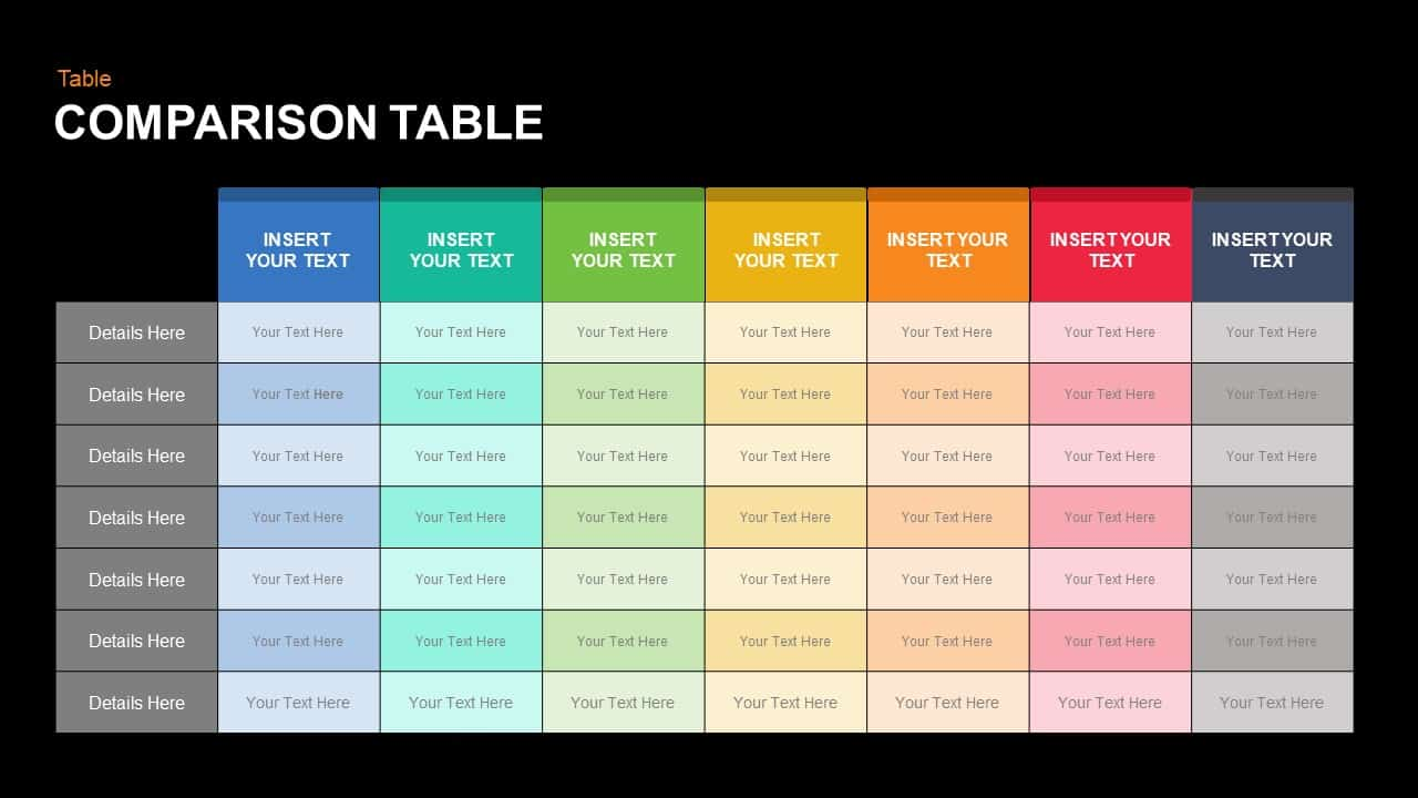 Comparison Table Keynote and Powerpoint template