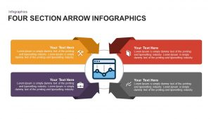 4 Section Infographic Arrow PowerPoint Template and Keynote Slide