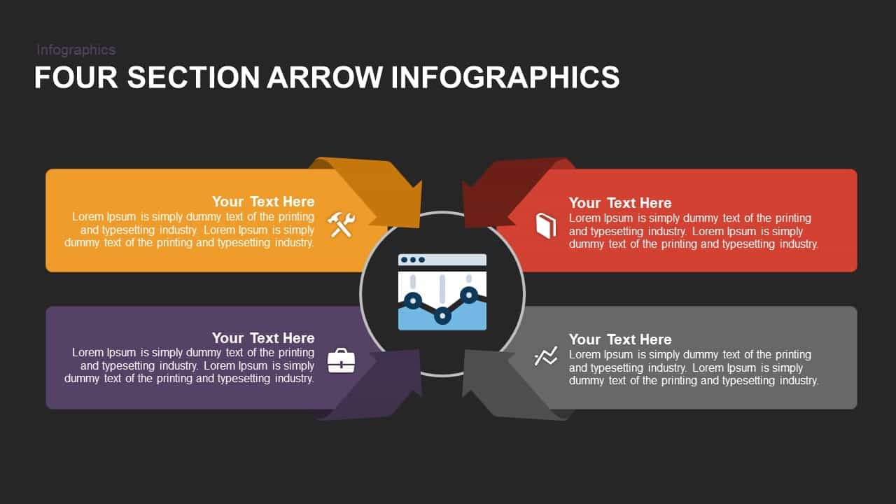 Four Section Arrow Infographics Powerpoint and Keynote template