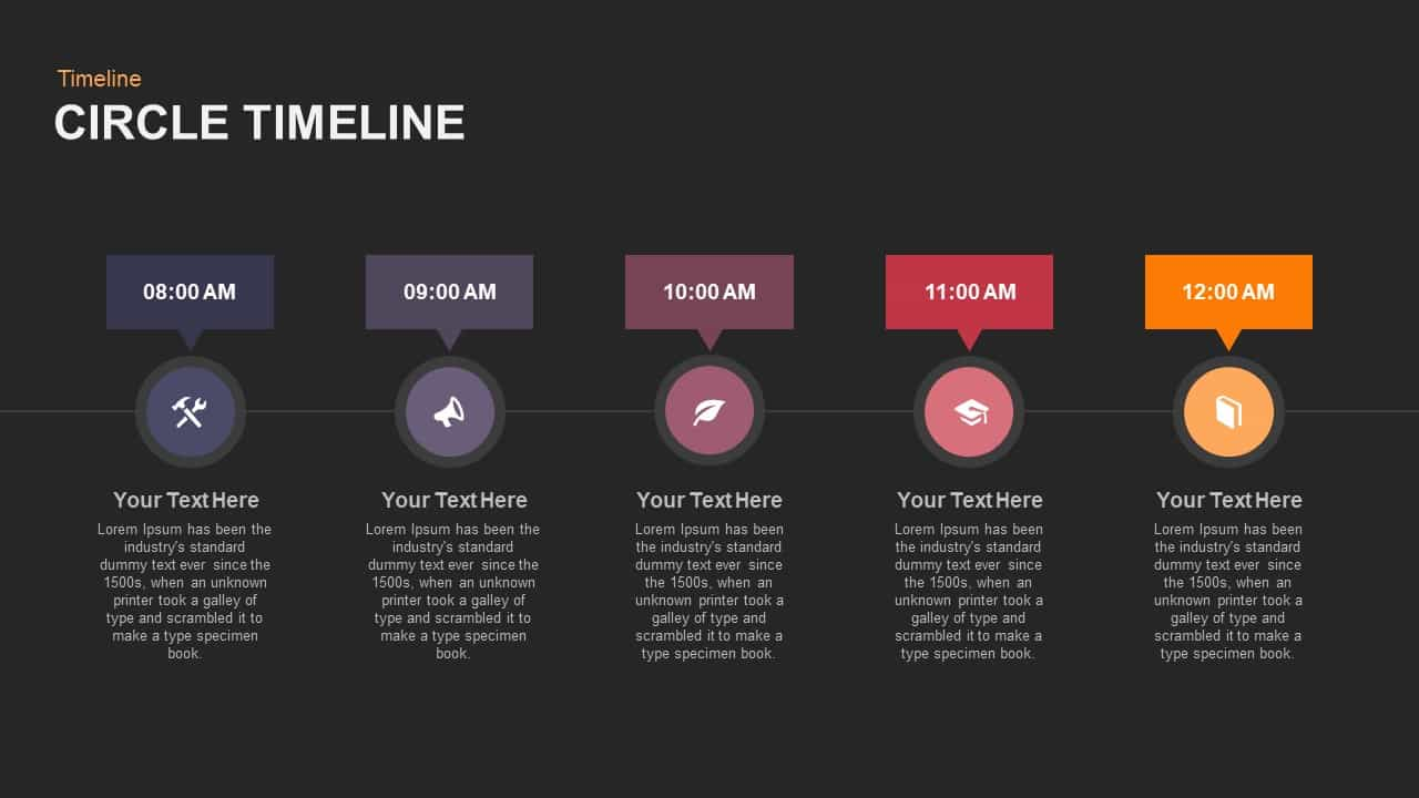 circle timeline powerpoint template and keynote slide