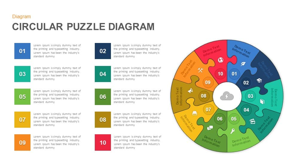 Circular Puzzle Diagram Powerpoint template