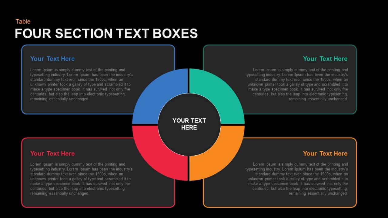 Four Section Text Boxes Powerpoint template
