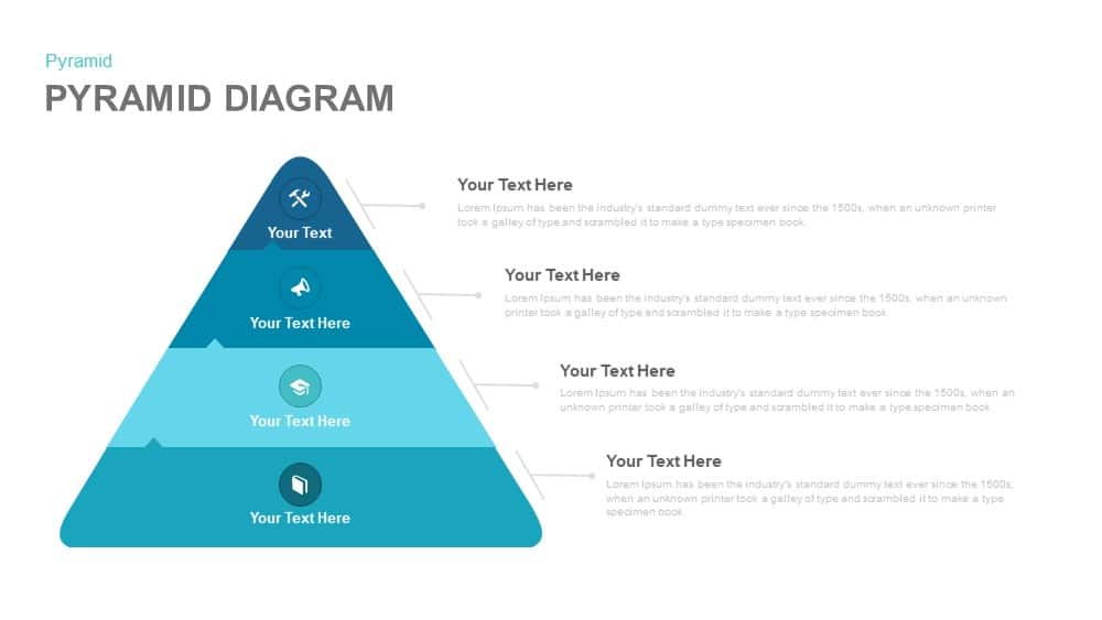 4 stage pyramid diagram template for PowerPoint and keynote