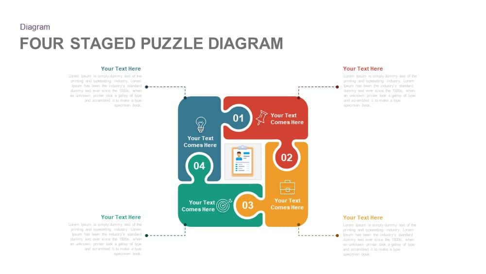 Four Staged Puzzle Diagram Powerpoint and Keynote template