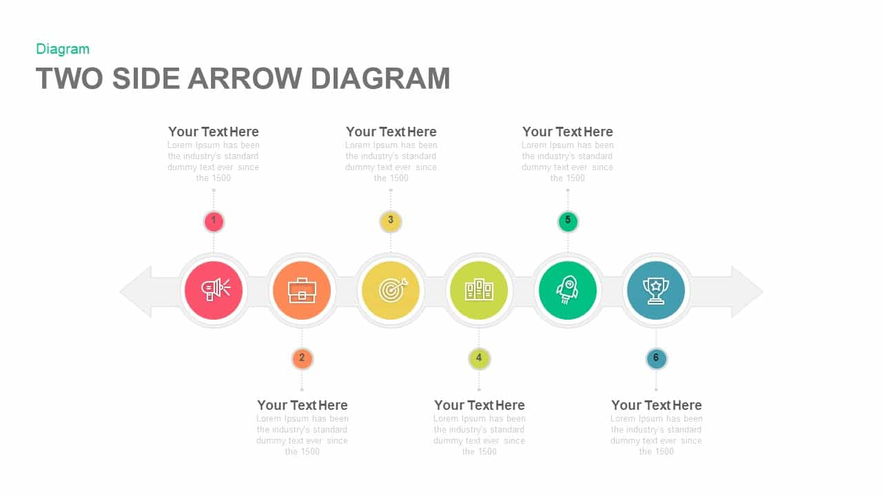 Two Side Arrow Diagram Powerpoint and Keynote template
