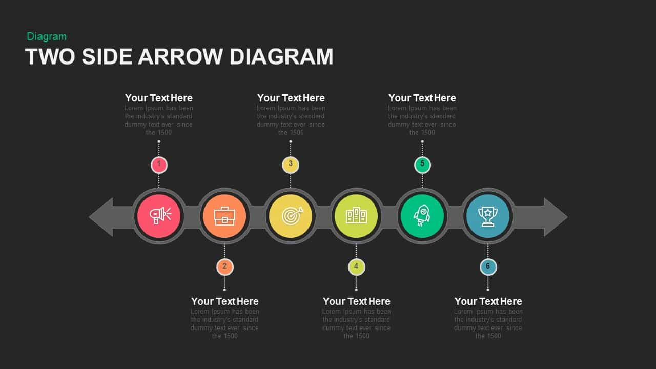 Two Side Arrow Diagram Powerpoint template