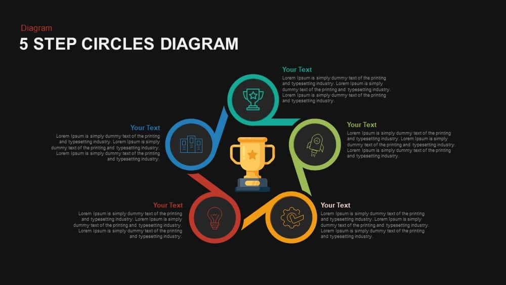 5 Step Circles Diagram Powerpoint and Keynote template