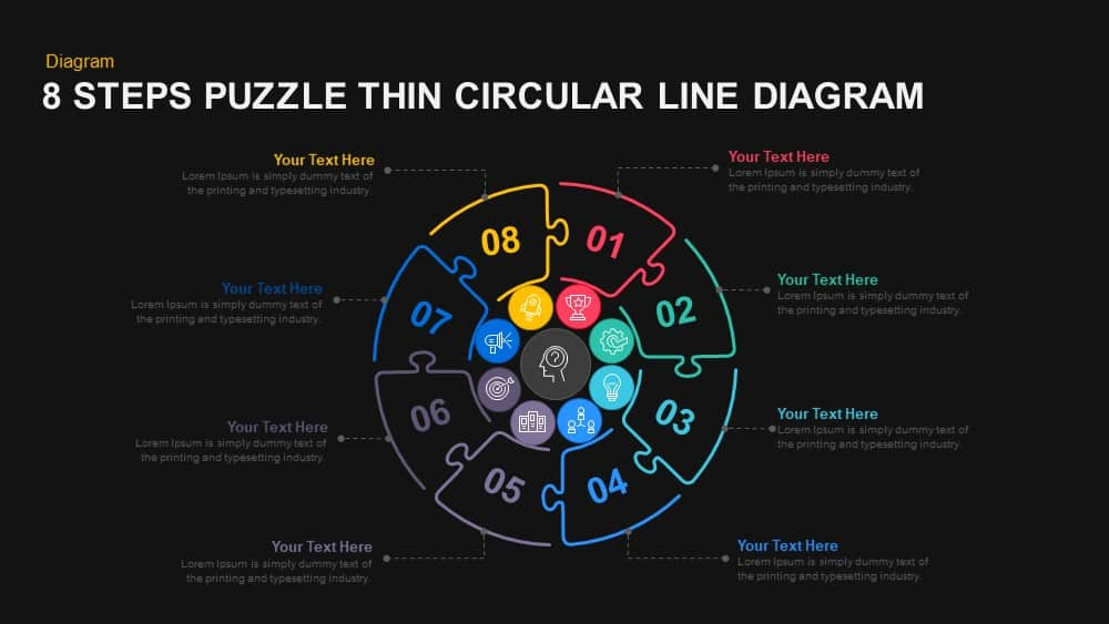 8 Steps Puzzle Thin Circular Line Diagram PowerPoint and Keynote template