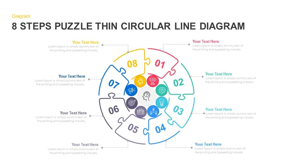 8 steps circular puzzle diagram template for PowerPoint and keynote