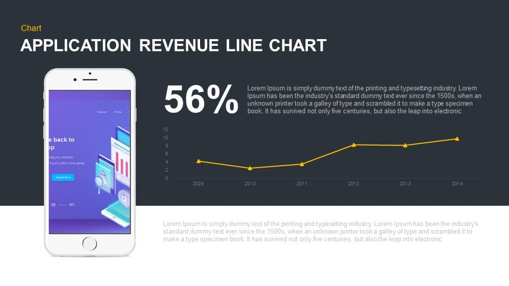Application revenue line chart PowerPoint template and keynote