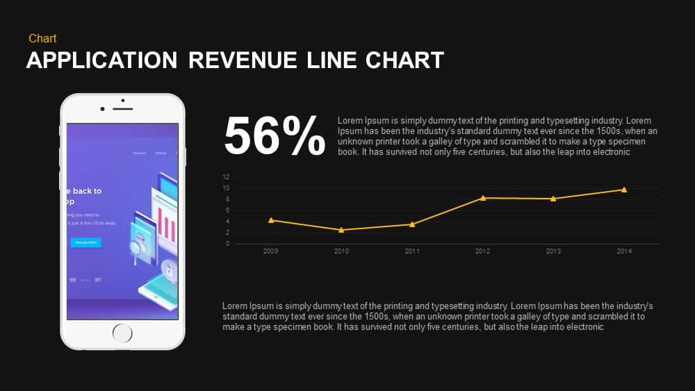Application Revenue Line Chart PowerPoint template