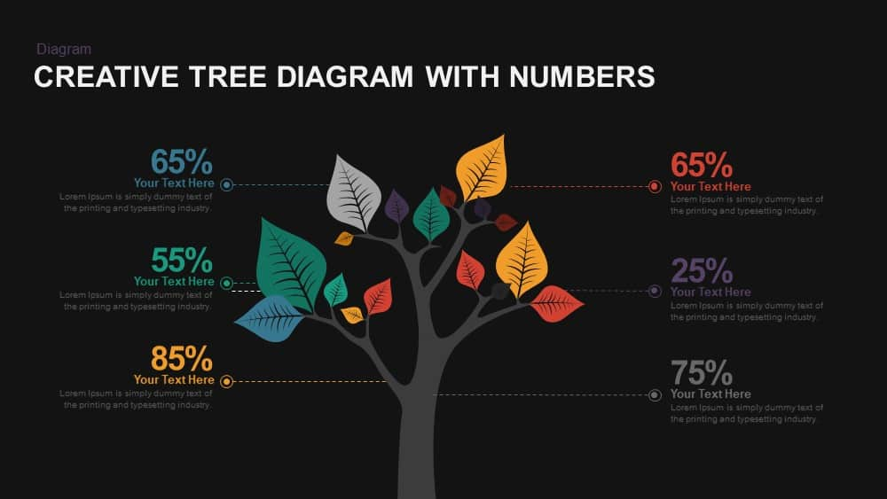 Creative Tree Diagram with Numbers PowerPoint template