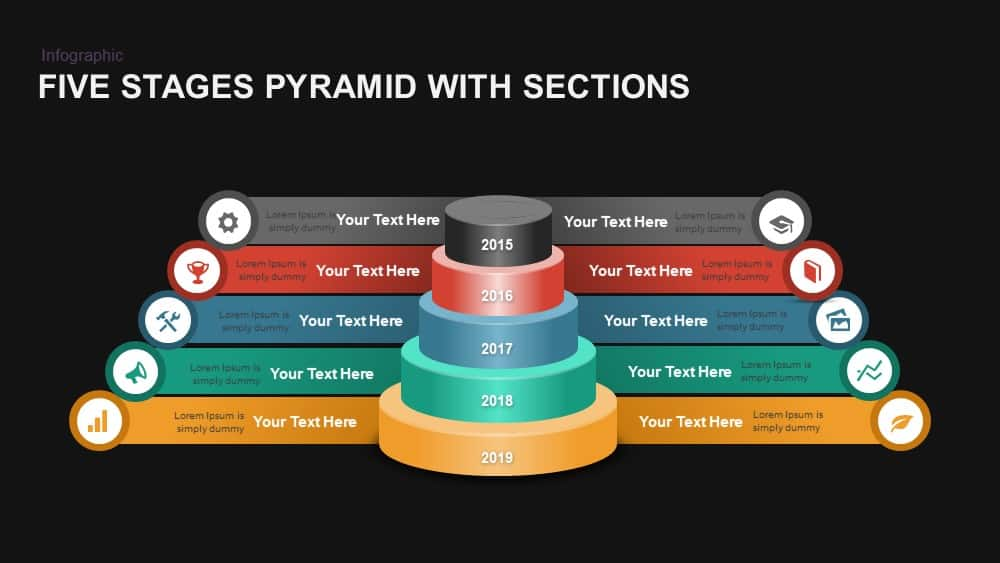 Five Stages Pyramid with Ribbons Powerpoint template